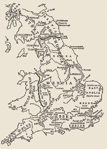 Anglo-Saxon England at the beginning of the ninth century. Map from G. M. Trevelyan's A shortened history of England, Penguin, 1942.