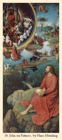 St. John on Patmos,  by Hans Memling (right panel of the Triptych of the Mystical Marriage of Saint Catherine), circa 1479,  in the Hospital of St. John in Brugge