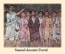A fresco painting on the wall of an ancient Jewish synagogue portrays Samuel annointing David.