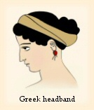 A Greek woman with hair arranged in a bun and wearing a headband