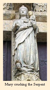 A statue on the cathedral at Amiens depicts Mary crushing the serpent