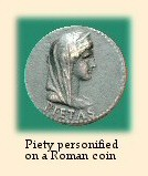 Piety personified on a Roman coin