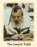 Jewish man wearing the tallit (prayer shawl)