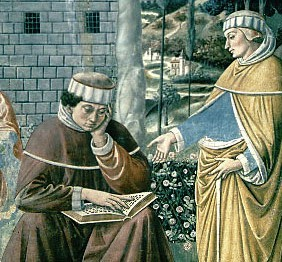 Augustine's conversion as depicted in a fresco by Benozzo Gozzoli (1465)